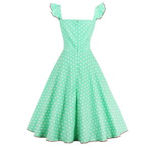 1950s Vintage Sleeveless Polka Dot A line Casual Cocktail Dress N12719