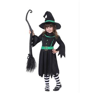 Kid's Black Witch Costume, Classical Witch Halloween Costume, Naughty Witch Dress Costume for Girls, Wicked Witch Masquerade Costume, Witch Halloween Cosplay Kids Costume, #N17753
