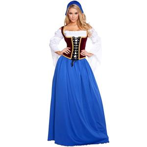 Swiss Miss Oktoberfest Costume, German Beer Girl Wench Oktoberfest Costume, 4 Piece German Beer Girl Bar Maiden Costume, Cosplay Oktoberfest Party Costume, #N16008