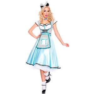Adult Wonderland Halloween Costume, Cute Alice Wonderland Costume, Ladies' Wonderland Alice Liddle Costume,  Alice Liddle Costume, Alice Ruffled Attached Apron Costume, #N18683