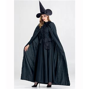 Black Vintage Witch Costume, Witch Halloween Party Dress, Sexy Black Witch Costume,  Black Sorceress Womens Costume, Halloween Magic Costume, #N14983