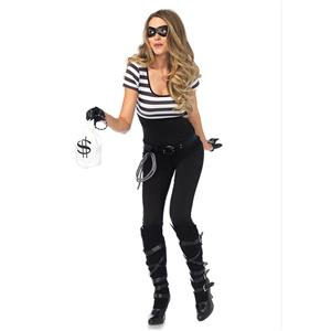 Bank Robbin Cosplay Costume, Sexy Robber Costume for Women, Sexy Money Robber Halloween Costume, Robbin Bandit Adult Cosplay Costume, #N17742