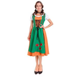 Christmas Cheer Costume, Women's Beer Girl Costume, Bavarian Beer Girl Costume, Traditoinal Bavarian Girl Costume, Oktoberfest Wench Adult Dirndl Dress, #N14610