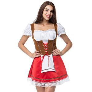 Beer Girl Home Costume, Red and Brown Beer Girl Costume, German Beer Girl Halloween Costume, #N12672