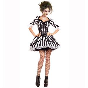 Hot Sale Halloween Costume, Crazy Scary Costume, Women's Scary Beetlejuice Costume, Horrible Black Hallween Costume, Women's Beetlejuice Costume, #N14771
