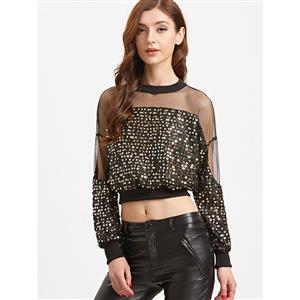 Women's Fashion, Women's Sequined Crop Top, Cheap Women's Top, #N12457