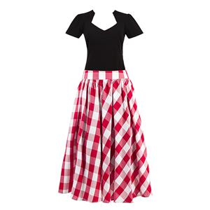 Women's T-shirt and Skirt Set, Vintage T-shirt Skirt Set, Short Sleeve T-shirt and Plaid Skirt Set, #N12944