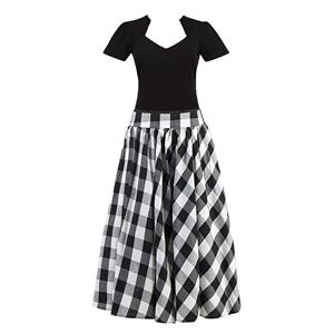 Women's T-shirt and Skirt Set, Vintage T-shirt Skirt Set, Short Sleeve T-shirt and Plaid Skirt Set, #N12946