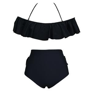 Sexy Black Off Shoulder Falbala Bikini Set, Sexy Swimwear for Women, Women's Beachwear, Sexy Swim Suit, #N12301