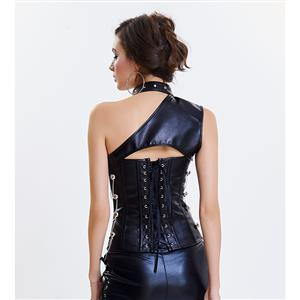 Women's Steampunk Black Steel Boned One-shoulder Leather Overbust Corset N14686