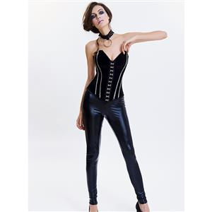 Women's Gothic Black Sweetheart Outer Steel Boned Overbust Corset N14974