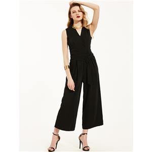 Wide Leg?Jumpsuit, Jumpsuits for Women, V Neckline Jumpsuit, Slim Plain Jumpsuit, Sleeveless Jumpsuit, Fashion Jumpsuit, #N14430