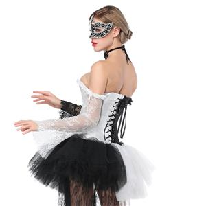 Women's Fashion Black/White Plastic Boned Overbust Corset with Long Floral Lace Sleeve N16211