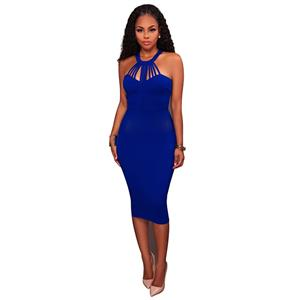 bfe78877674 Blue Sleeveless Midi Dress