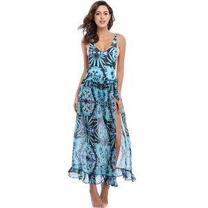 Sexy Blue Plant Print Swimsuit&Cover Up, Women's Sexy Swimsuit&Cover Up, #N12615