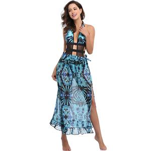 Sexy Blue Plant Print Swimsuit&Cover Up, Women's Sexy Swimsuit&Cover Up, Sexy Halter Strappy Cut Out Plant Print Swimsuit &Cover Up, #N12617