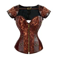 Coffee Faux Leather and Brocade Corset, Shrug D-Ring Corset, Steampunk Corset with Detachable Jacket, Coffee Gothic Overbust Corset, #N15392