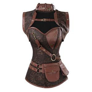 Sexy Halloween Corset, Steampunk Steel Boned Outerwear Corset, Cheap Jacquard Corset with Jacket, Vintage Brown Corset, #N11993