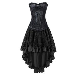 Burlesque Dancing Corset Skirt Set, Women's Corset and Skirt Set, Corset and Petticoat for Women, Vintage Corset Skirt Set, Victorian Corset&Skirt Set, Gothic Outfit for Women,#N12774