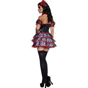 Burlesque Black Red Lace Trim Corset Dress Halloween Costume N11623