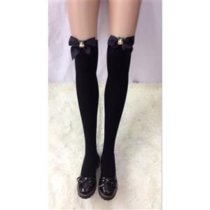 Christmas Black Stockings, Sexy Thigh Highs Stockings, Pure Black Cosplay Stockings, Christmas Bell Thigh High Stockings, Black Bowknot Stocking, Stretchy Nightclub Knee Stockings, #HG18463