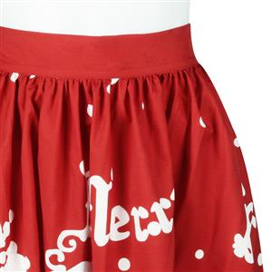 Women's Christmas Printed Stretchy Flared A-line Skater Skirt N15071