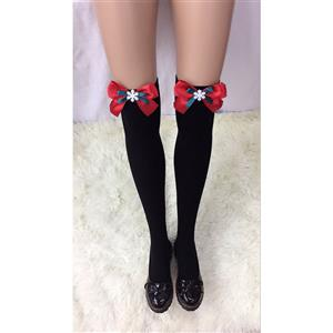 Christmas Black Stockings, Sexy Thigh Highs Stockings, Pure Black Cosplay Stockings, Snowflake Thigh High Stockings, Red Bowknot Stocking, Stretchy Nightclub Knee Stockings, #HG18465
