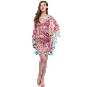 Women's Mesh Cover Ups, Tassel Chiffon Beachwear, Sexy Lace Cover Ups, Beach Bikini Swimsuit Cover-ups, Colorblock Cover Up, #N14146
