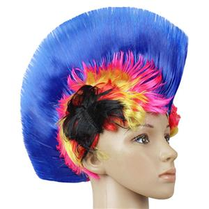 Fashion Modeling Punk Party Short Hair Wig, Funny Exaggerated Upturned Hair Wig, Colorful Short Hair Party Wig, Funny Cockscomb Hair Party Cosplay Wig, Halloween Masquerade Cosplay Party Accessory Wig, #MS19663