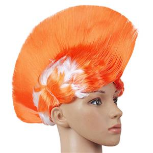 Fashion Modeling Punk Party Short Hair Wig, Funny Exaggerated Upturned Hair Wig, Colorful Short Hair Party Wig, Funny Cockscomb Hair Party Cosplay Wig, Halloween Masquerade Cosplay Party Accessory Wig, #MS19666