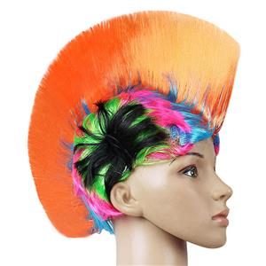 Fashion Modeling Punk Party Short Hair Wig, Funny Exaggerated Upturned Hair Wig, Colorful Short Hair Party Wig, Funny Cockscomb Hair Night Club Party Cosplay Wig, Halloween Masquerade Cosplay Party Accessory Wig, #MS19667