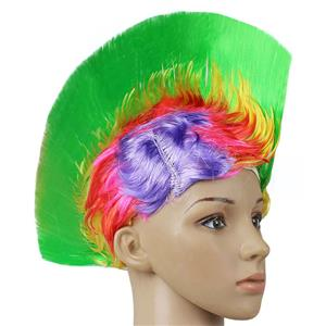Fashion Modeling Punk Party Short Hair Wig, Funny Exaggerated Upturned Hair Wig, Colorful Short Hair Party Wig, Funny Cockscomb Hair Night Club Party Cosplay Wig, Halloween Masquerade Cosplay Party Accessory Wig, #MS19668