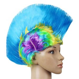 Fashion Modeling Punk Party Short Hair Wig, Funny Exaggerated Upturned Hair Wig, Colorful Short Hair Party Wig, Funny Cockscomb Hair Night Club Party Cosplay Wig, Halloween Masquerade Cosplay Party Accessory Wig, #MS19670