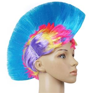 Fashion Modeling Punk Party Short Hair Wig, Funny Exaggerated Upturned Hair Wig, Colorful Short Hair Party Wig, Funny Cockscomb Hair Night Club Party Cosplay Wig, Halloween Masquerade Cosplay Party Accessory Wig, #MS19671