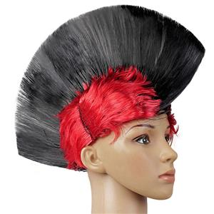 Fashion Modeling Punk Party Short Hair Wig, Funny Exaggerated Upturned Hair Wig, Colorful Short Hair Party Wig, Funny Cockscomb Hair Night Club Party Cosplay Wig, Halloween Masquerade Cosplay Party Accessory Wig, #MS19673