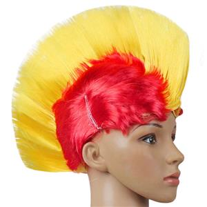 Fashion Modeling Punk Party Short Hair Wig, Funny Exaggerated Upturned Hair Wig, Colorful Short Hair Party Wig, Funny Cockscomb Hair Night Club Party Cosplay Wig, Halloween Masquerade Cosplay Party Accessory Wig, #MS19675