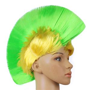 Fashion Modeling Punk Party Short Hair Wig, Funny Exaggerated Upturned Hair Wig, Colorful Short Hair Party Wig, Funny Cockscomb Hair Night Club Party Cosplay Wig, Halloween Masquerade Cosplay Party Accessory Wig, #MS19677
