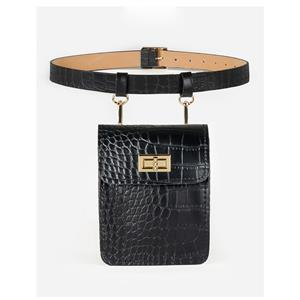 Crocodile Embossed Leather Handbag, Crocodile Embossed PU Leather Purse, Fashion Waist Belt, Waist Belt with Pouch, Waist Pouch Fashion Belt Bags, Waist Belt for Women, Waist Belt with Mini Purse, Casual Travel Waist Belt, Brown Girdle for Women, #N19164