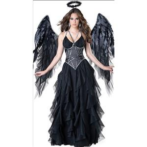 Fallen Angel Halloween Costume,Black Angel Costue,Deluxe Angel Costume, Halloween Costume, Fancy Ball Costume, Angel Catume, Adult Angel,#N18246