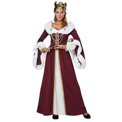 Queen Adult Costume, Hot Sale Halloween Adult Costume, Fashion Cosplay Costume, Medieval Queen Adult Costume, Deluxe Medieval Queen Costume, Women's Renaissance Costumes, #N18178