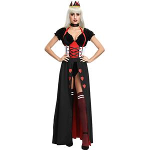 Sexy Queen of Hearts Cosplay Costume, Heartless Queen Royal Body Shaper Costume, Queen Halloween Party Costume, #N19396