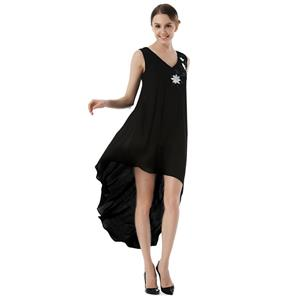 Sexy Summer Beach Dresses, Women's Cocktail Party Dress, Sexy High-low Evening Dresses, Loose Waist Cocktail Party Dress,  Sheer Chiffon Ceremony Long Dress, Elegant Sheer Chiffon Beachwear Dress, #N18764