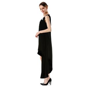 Deluxe Black Chiffon V Neck Embroidered Sleeveless Ball Gown High-low Dress N18764