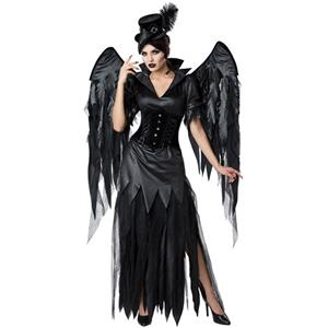 Gothic Dark Angel Role Play Costume, Classical Adult Vampire Halloween Costume, Deluxe Ghost Bride Dress Costume, Vampire Bride Masquerade Costume, Ghost Black Devil Halloween Adult Cosplay Costume, #N19545