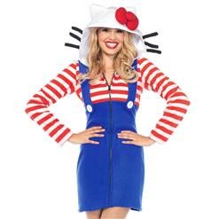 Sexy Halloween Cosplay Adult Costumes, Hello Kitty Cozy Cosplay Costumes, Hello Kitty Cozy Women's Costume, Kitty Cat Fairy Tale Costume, Sexy Hello Kitty Costume, #N16125