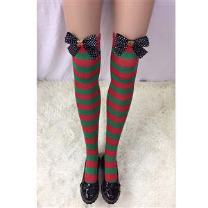 Cute Christmas Stockings, Sexy Thigh Highs Stockings, Red and Green Stripes Cosplay Stockings, Anime Thigh High Stockings, Christmas Red and Green Stripes Stockings, Stretchy Nightclub Knee Stockings, #HG18529