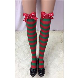 Cute Christmas Stockings, Sexy Thigh Highs Stockings, Red and Green Stripes Cosplay Stockings, Anime Thigh High Stockings, Christmas Red and Green Stripes Stockings, Stretchy Nightclub Knee Stockings, #HG18530
