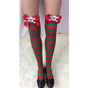 Cute Christmas Stockings, Sexy Thigh Highs Stockings, Red and Green Stripes Cosplay Stockings, Anime Thigh High Stockings, Christmas Red and Green Stripes Stockings, Stretchy Nightclub Knee Stockings, #HG18531