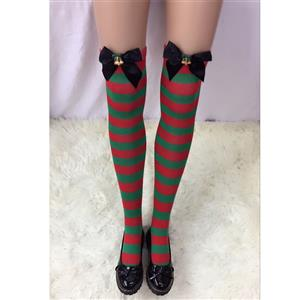 Cute Christmas Stockings, Sexy Thigh Highs Stockings, Red and Green Stripes Cosplay Stockings, Anime Thigh High Stockings, Christmas Red and Green Stripes Stockings, Stretchy Nightclub Knee Stockings, #HG18549