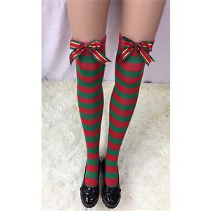 Cute Christmas Stockings, Sexy Thigh Highs Stockings, Red and Green Stripes Cosplay Stockings, Anime Thigh High Stockings, Christmas Red and Green Stripes Stockings, Stretchy Nightclub Knee Stockings, #HG18550